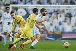 Daniel Carvajal Ramos (R) of Real Madrid is tackled by Jaume Vicent Costa Jorda, J Costa (C) and Samuel Castillejo Azuaga, Samu Castillejo, of Villarreal CF during the La Liga 2017-18 match between Real Madrid and Villarreal CF at Santiago Bernabeu Stadium on January 13 2018 in Madrid, Spain. Photo by Diego Gonzalez / Power Sport Images
