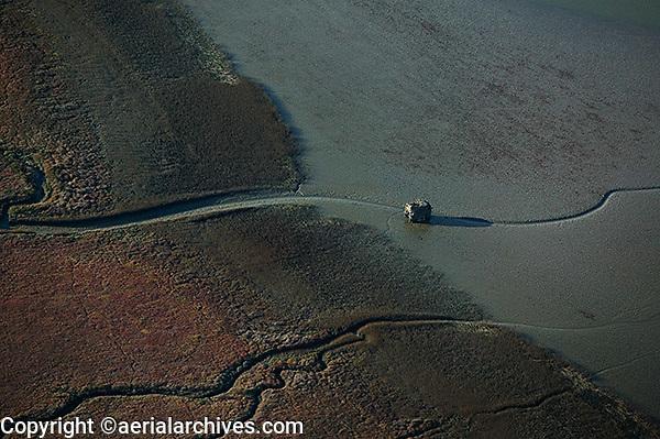 aerial photograph duck hunting shack Marin County, California