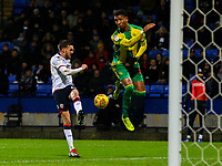 Bolton Wanderers' Craig Noone shoots wide under pressure from West Bromwich Albion's Mason Holgate<br /> <br /> Photographer Alex Dodd/CameraSport<br /> <br /> The EFL Sky Bet Championship - Bolton Wanderers v West Bromwich Albion - Monday 21st January 2019 - University of Bolton Stadium - Bolton<br /> <br /> World Copyright © 2019 CameraSport. All rights reserved. 43 Linden Ave. Countesthorpe. Leicester. England. LE8 5PG - Tel: +44 (0) 116 277 4147 - admin@camerasport.com - www.camerasport.com