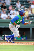Right fielder Elier Hernandez (12) of the Lexington Legends bats in a game against the Greenville Drive on Sunday, April 27, 2014, at Fluor Field at the West End in Greenville, South Carolina. Hernandez is the No. 11 prospect of the Kansas City Royals, according to Baseball America. Greenville won, 21-6. (Tom Priddy/Four Seam Images)