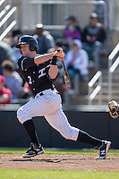 Landon Lassiter (2) of the Kannapolis Intimidators follows through on his swing against the Delmarva Shorebirds at Kannapolis Intimidators Stadium on April 13, 2016 in Kannapolis, North Carolina.  The Intimidators defeated the Shorebirds 8-7.  (Brian Westerholt/Four Seam Images)