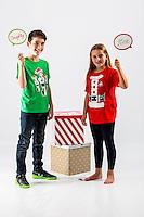 Wednesday 02 November 2016<br /> Pictured: Erin and Joe Davies<br /> Re: Swansea City Christmas Photo shoot, Liberty Stadium, Wales, UK