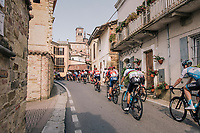 peloton with World Champion Alejandro Valverde (ESP/Movistar) rolling through town<br /> <br /> 99th Milano - Torino 2018 (ITA)<br /> from Magenta to Superga: 200km