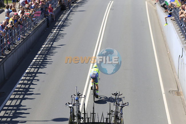 Evgeny Petrov (RUS) Tinkoff in action during Stage 1 of the 2016 Giro d'Italia, an individual time trial of 9.8km around Apeldoorn, The Nethrerlands. 6th May 2016.<br /> Picture: Eoin Clarke | Newsfile<br /> <br /> <br /> All photos usage must carry mandatory copyright credit (&copy; Newsfile | Eoin Clarke)