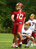 Ashburn, VA - May 4, 2003 -- Former New York Jets place kicker John Hall (10) watches the flight of a kick during a  work out with his new team, the Washington Redskins, during a pre-season mini-camp at Redskin Park in Ashburn, Virginia on May 4, 2003..Credit: Ron Sachs / CNP