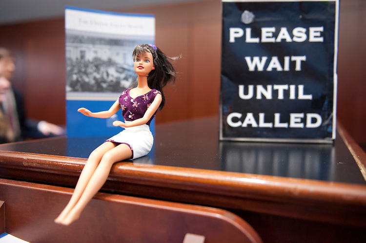 UNITED STATES - Jan 15: Check In Barbie greets visitors to the Senate Gallery Check In in the Capitol Visitors Center of the U.S. Capitol on January 15, 2014.  (Photo By Douglas Graham/CQ Roll Call)