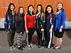 The 2017 Newsday All-Long Island girls fencing team poses for a group portrait during the All-Long Island photo shoot at company headquarters on Monday, March 27, 2017. From left: Shannon Sarker of Great Neck North, Tia Petrides of Garden City, Crystal Chen of Half Hollow Hills, Stephanie Miller of Commack, Macy Meng of Great Neck South and Coach Catie Sagevick of Great Neck South.
