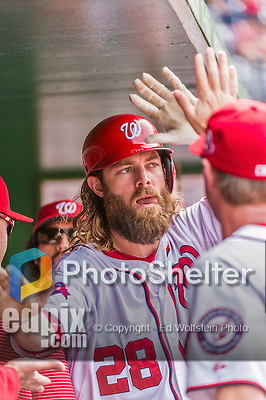 30 August 2015: Washington Nationals outfielder Jayson Werth returns to the dugout after to scoring in the 5th inning against the Miami Marlins at Nationals Park in Washington, DC. The Nationals rallied to defeat the Marlins 7-4 in the third game of their 3-game weekend series. Mandatory Credit: Ed Wolfstein Photo *** RAW (NEF) Image File Available ***
