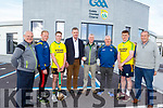 Kerry officials and players at the launch of the Kerry Puc Fada hurling competition at the Centre of Excellence in Currans on Tuesday.  Standing l to r: John Lucid, Tim Daly, Shane Conway, Tim Murphy (Chairman Kerry GAA), John O'Leary, Ger Mc Carthy, Sean Weir and Pat Dineen,