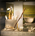 Display of neolithic finds of farming tools. With permission of Wiltshire Museum, Devizes, England, UK.