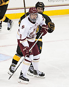 Colin White (BC - 18), Westin Michaud (CC - 17) - The Boston College Eagles defeated the visiting Colorado College Tigers 4-1 on Friday, October 21, 2016, at Kelley Rink in Conte Forum in Chestnut Hill, Massachusetts.The Boston College Eagles defeated the visiting Colorado College Tiger 4-1 on Friday, October 21, 2016, at Kelley Rink in Conte Forum in Chestnut Hill, Massachusett.