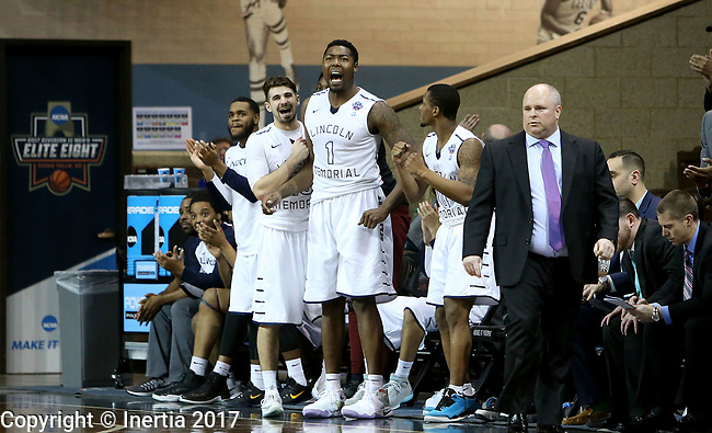 SIOUX FALLS, SD: MARCH 22: Chris Perry #1 from Lincoln Memorial leads the bench in cheers toward the end of their game against Chico State in the Men's Division II Basketball Championship Tournament on March 22, 2017 at the Sanford Pentagon in Sioux Falls, SD. Lincoln Memorial beat Chico State 74-61. (Photo by Dave Eggen/Inertia)