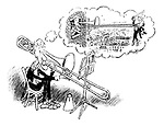 The Orchestra Thinks. (The trombone player thinks about hanging the conductor out of a high window with his trombone)