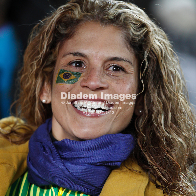 JOHANNESBURG - JUNE 15:  A Brazil supporter seen prior to the start of a 2010 FIFA World Cup football match between Brazil and North Korea June 15, 2010 in Johannesburg, South Africa.  NO mobile use.  Editorial ONLY.