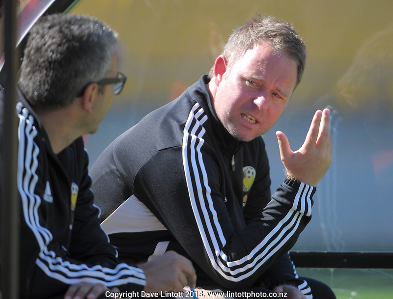 Team Wellington coach Matt Calcott expresses frustration during the ASB Premiership Football match between Team Wellington and Wanderers SC at Westpac Stadium, Wellington, New Zealand on Saturday, 14 December 2013. Photo: Dave Lintott / lintottphoto.co.nz