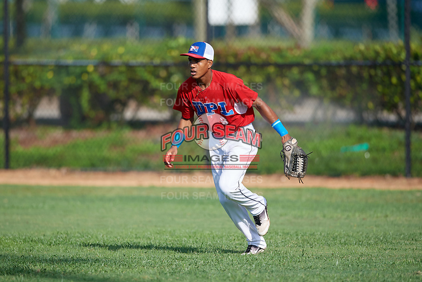 Fidel Montero (6) during the Dominican Prospect League Elite Florida Event at Pompano Beach Baseball Park on October 14, 2019 in Pompano beach, Florida.  (Mike Janes/Four Seam Images)