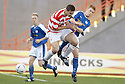 04/09/2004   Copyright Pic : James Stewart.File Name : jspa12_hamilton_v_stjohnstone.MARK MCLAUGHLIN AND STEVE MCMANUS CHALLENGE FOR THE BALL.....Payments to :.James Stewart Photo Agency 19 Carronlea Drive, Falkirk. FK2 8DN      Vat Reg No. 607 6932 25.Office     : +44 (0)1324 570906     .Mobile  : +44 (0)7721 416997.Fax         :  +44 (0)1324 570906.E-mail  :  jim@jspa.co.uk.If you require further information then contact Jim Stewart on any of the numbers above.........