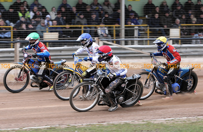 Heat 12: Chris Louis (red), Tobi Kroner (blue), Adam Shields (green) and Ricky Kling - Ipswich Witches vs Lakeside Hammers - Craven Shield Speedway at Foxhall Stadium, Ipswich - 21/03/08 - MANDATORY CREDIT: Gavin Ellis/TGSPHOTO - Self billing applies where appropriate - Tel: 0845 094 6026
