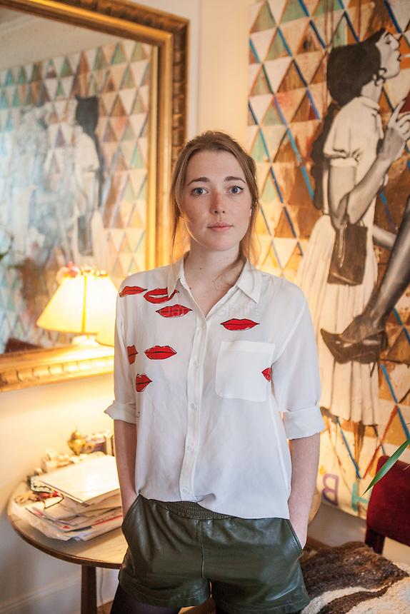 Artist Angelica Hicks at her apartment on the Upper East Side, owned by a family friend, where she has stayed over the years. <br /> <br /> <br /> Photo by Danny Ghitis