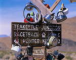 Death Valley National Park, CA<br /> Signpost at Teakettle Junction in the Racetrack Valley