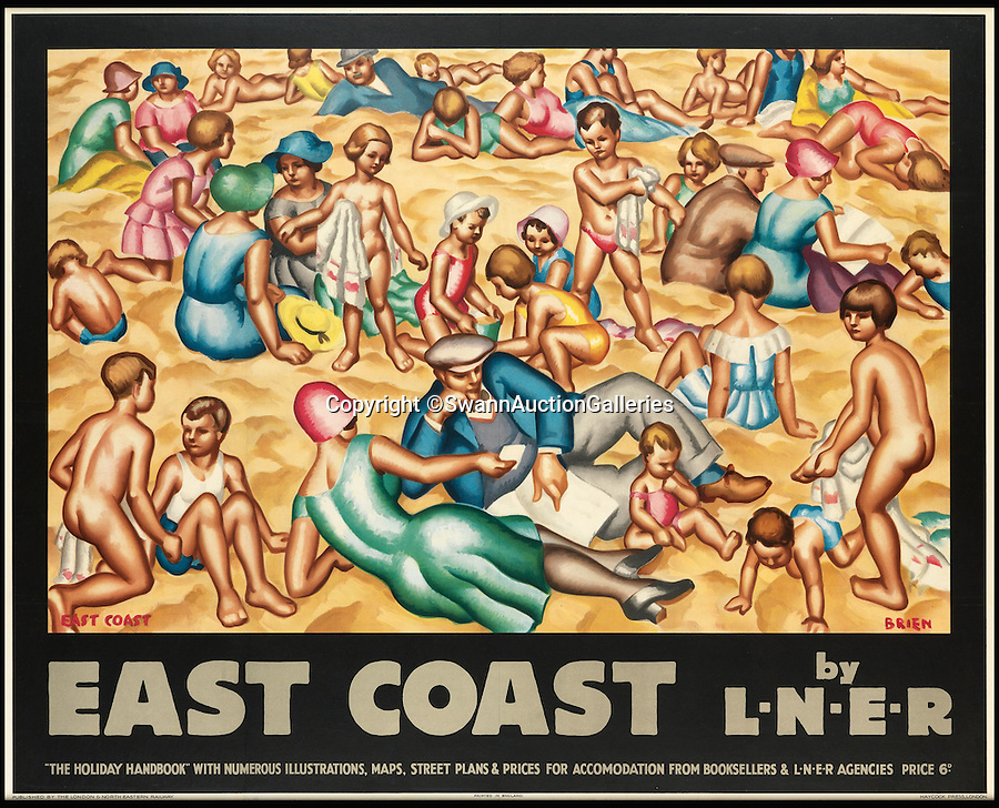 BNPS.co.uk (01202 558833)<br /> Pic: SwannAuctionGalleries/BNPS<br /> <br /> Stylish Art Deco poster makes Britain's chilly east coast look more like the Med.<br /> <br /> Travel posters opening a window into British seaside holidays of the past have emerged at auction. <br /> <br /> The selection of images, which were displayed at railway stations in the early 20th century, are among 200 being sold in the USA next month and expected to fetch hundreds of thousands of pounds. <br /> <br /> They feature paintings from prominent artists of the time and show a sharp contrast to the styles of today. <br /> <br /> The posters are being auctioned by Swann Galleries in New York on October 27.
