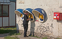 Polish outdoor telephones and mailbox. Lutomierska Street Balucki District Lodz Central Poland