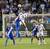 CARSON, CA – June 6, 2011: Honduran Carlo Costly (13) heads the ball during the match between Guatemala and Honduras at the Home Depot Center in Carson, California. Final score Guatemala 0, Honduras 0.