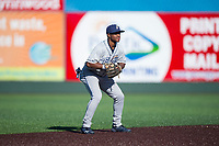 Tri-City Dust Devils shortstop Xavier Edwards (2) during a Northwest League game against the Everett AquaSox at Everett Memorial Stadium on September 3, 2018 in Everett, Washington. The Everett AquaSox defeated the Tri-City Dust Devils by a score of 8-3. (Zachary Lucy/Four Seam Images)