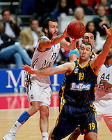 Real Madrid's Sergio Rodriguez  and Alba Berlin's Albert Miralles  during Euroleague 2012/2013 match.February 22,2013. (ALTERPHOTOS/Javier Lopez) /NortePhoto