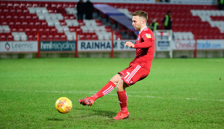 Accrington Stanley's Jordan Clark scores the decisive penalty during the penalty shoot out<br /> <br /> Photographer Andrew Vaughan/CameraSport<br /> <br /> The EFL Checkatrade Trophy Second Round - Accrington Stanley v Lincoln City - Crown Ground - Accrington<br />  <br /> World Copyright &copy; 2018 CameraSport. All rights reserved. 43 Linden Ave. Countesthorpe. Leicester. England. LE8 5PG - Tel: +44 (0) 116 277 4147 - admin@camerasport.com - www.camerasport.com