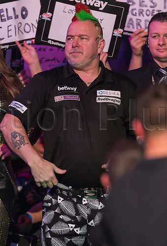 31.03.2016. The Motorpoint Arena, Cardiff.  Betway PDC Premier League Darts Judgement Night. Peter Wright during his walk on