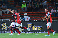 MEDELLIN - COLOMBIA, 14-09-2019: Daniel Restrepo de Cucuta celebra después de anotar el primer gol de su equipo durante partido por la fecha 11 de la Liga Águila II 2019 entre Atlético Nacional y Cúcuta Depotivo jugado en el estadio Atanasio Girardot de la ciudad de Medellín. / Daniel Restrepo of Cucuta celebrates after scoring the first goal of his team during match for the date 11 as part of Aguila League II 2019 between Atletico Nacional and Cucuta Deportivo played at Atanasio Girardot stadium in Medellín city. Photo: VizzorImage / Leon Monsalve / Cont