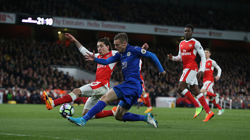 Leicester City's Jamie Vardy has this cross blocked by Arsenal's Hector Bellerin<br /> <br /> Photographer Stephen White/CameraSport<br /> <br /> The Premier League - Arsenal v Leicester City - Wednesday 26th April 2017 - Emirates Stadium - London<br /> <br /> World Copyright &copy; 2017 CameraSport. All rights reserved. 43 Linden Ave. Countesthorpe. Leicester. England. LE8 5PG - Tel: +44 (0) 116 277 4147 - admin@camerasport.com - www.camerasport.com