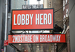 Theatre Marquee installation for the Kenneth Lonergan play  'Lobby Hero' starring Brian Tyree Henry, Michael Cera, and Chris Evans under the direction of Trip Cullman on February 2, 2018  at the Helen Hayes Theatre in New York City.