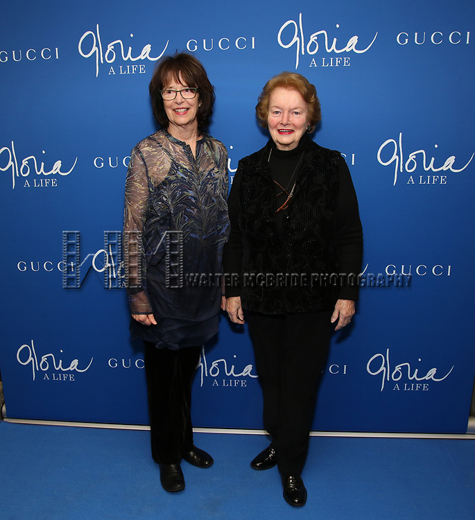"Joanne Edgar and Pat Carbine attends the Opening Night Performance of ""Gloria: A Life"" on October 18, 2018 at the Daryl Roth Theatre in New York City."