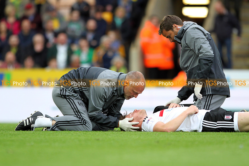 Tomas Kalas of Fulham lies in agony during Norwich City vs Fulham, Sky Bet EFL Championship Football at Carrow Road on 14th April 2017