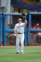 Charlotte Stone Crabs left fielder Jim Haley (20) during a Florida State League game against the Palm Beach Cardinals on April 14, 2019 at Charlotte Sports Park in Port Charlotte, Florida.  Palm Beach defeated Charlotte 5-3.  (Mike Janes/Four Seam Images)