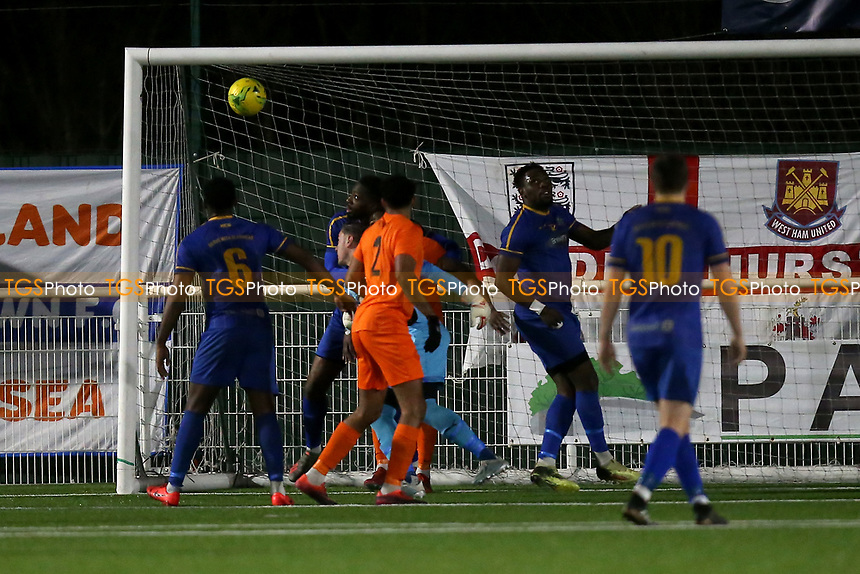 Brentwood score their first goal during Romford vs Brentwood Town, BetVictor League North Division Football at Parkside on 11th February 2020