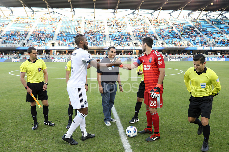 San Jose, CA - Saturday August 25, 2018: Kendall Waston, Andrew Tarbell during a Major League Soccer (MLS) match between the San Jose Earthquakes and Vancouver Whitecaps FC at Avaya Stadium.