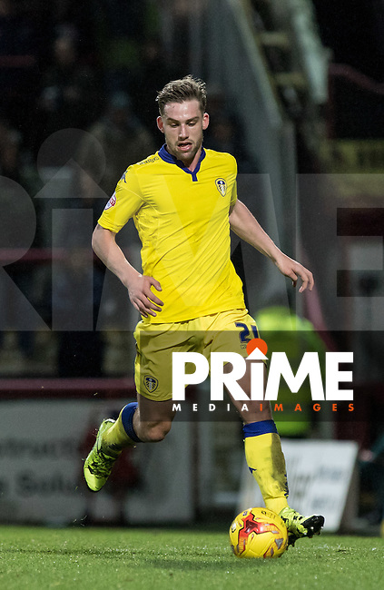 Charlie Taylor  of Leeds United  in action during the Sky Bet Championship match between Brentford and Leeds United at Griffin Park, London, England on 26 January 2016. Photo by Andy Rowland / PRiME Media Images.