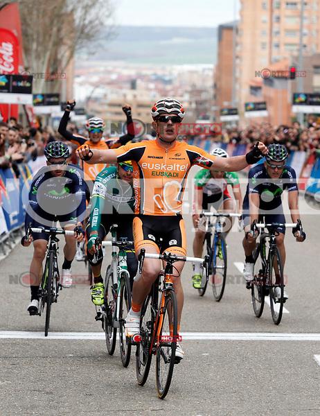 Pablo Urtasun (Euskaltel Euskadi team) wins the first stage of the Castilla and Leon 2013 Cycling Tour. The first stage of the 28th tour took place from Arevalo (Avila) to Valladolid. April 12, 2013. Valladolid, Spain. (Alterphotos/Victor J Blanco) /NortePhoto