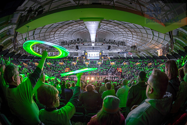 January 18, 2018; Fans wave glow sticks during player introductions before the Women's Basketball game against Tennessee at the Purcell Pavilion. (Photo by Matt Cashore)