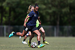 CARY, NC - APRIL 20: Rosana (BRA) (8) and McCall Zerboni (behind). The North Carolina Courage held a training session on April 20, 2017, at WakeMed Soccer Park Field 7 in Cary, NC.