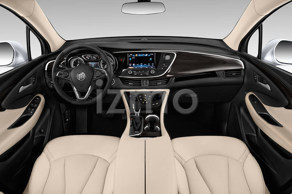 Stock photo of straight dashboard view of a 2019 Buick Envision Preferred FWD 5 Door SUV