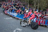 Edvald Boasson Hagen (NOR/Dimension Data) cheered up Mount Fløyen<br /> <br /> Men Elite Individual Time Trial<br /> <br /> UCI 2017 Road World Championships - Bergen/Norway