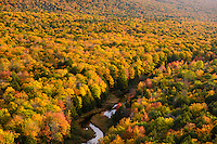 View of the Carp River running through the Porcupine Mountains State Park in northern Michigan's Upper Peninsula.