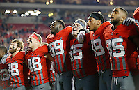 Ohio State Buckeyes players sing Carmen Ohio following NCAA football game against the Nebraska Cornhuskers at Ohio Stadium in Columbus on Nov. 5, 2016. Ohio State won 62-3. (Adam Cairns / The Columbus Dispatch)