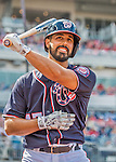11 September 2016: Washington Nationals starting pitcher Gio Gonzalez swings his bat on deck during a game against the Philadelphia Phillies at Nationals Park in Washington, DC. The Nationals edged out the Phillies 3-2 to take the rubber match of their 3-game series. Mandatory Credit: Ed Wolfstein Photo *** RAW (NEF) Image File Available ***