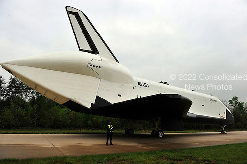 Space Shuttle Enterprise sits on the tarmac at the Smithsonian Institution's Steven F. Udvar-Hazy Center   in Chantilly, Virginia awaiting the arrival of the Space Shuttle Discovery on Thursday, April 19, 2012.  Enterprise will be on permanent display at the Intrepid Museum in New York, New York..Credit: Ron Sachs / CNP..(RESTRICTION: NO New York or New Jersey Newspapers or newspapers within a 75 mile radius of New York City)
