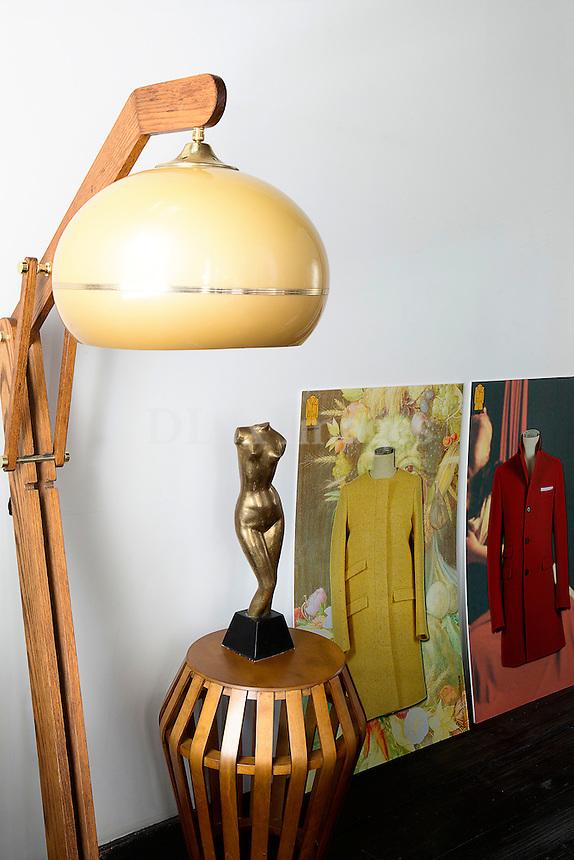 Modern wooden lamp and sculpture